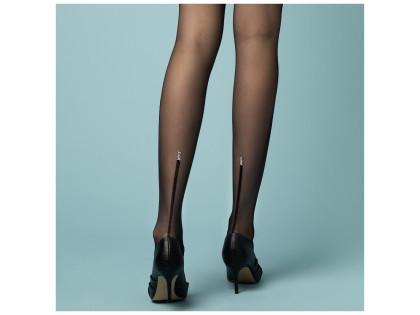 Schwarze transparente Damenstrumpfhose mit Naht - 2