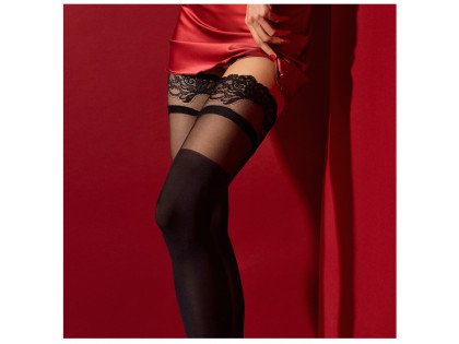 Black self-supporting stockings with flower lace - 2