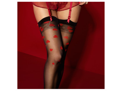 Black stockings for a red heart belt - 2
