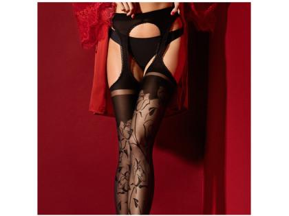 High quality 30den flower waist stockings - 2