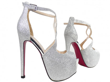 Silver pins on the platform glitter sandals with belt - 2