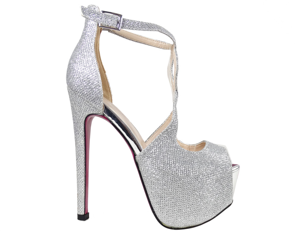 Silver pins on the platform glitter sandals with belt - 1
