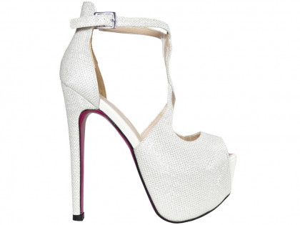 White glitter pins on the platform sandals with a belt - 1