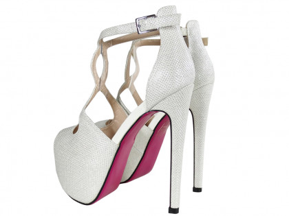 White glitter pins on the platform sandals with a belt - 2