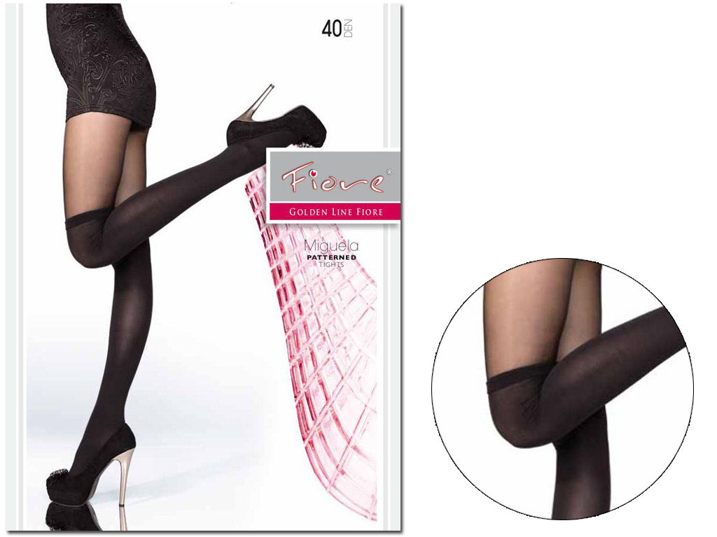 Black tights imitating stockings 40 den Fiore - 3