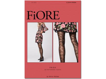Black floral patterned women's pantyhose 30 den - 1