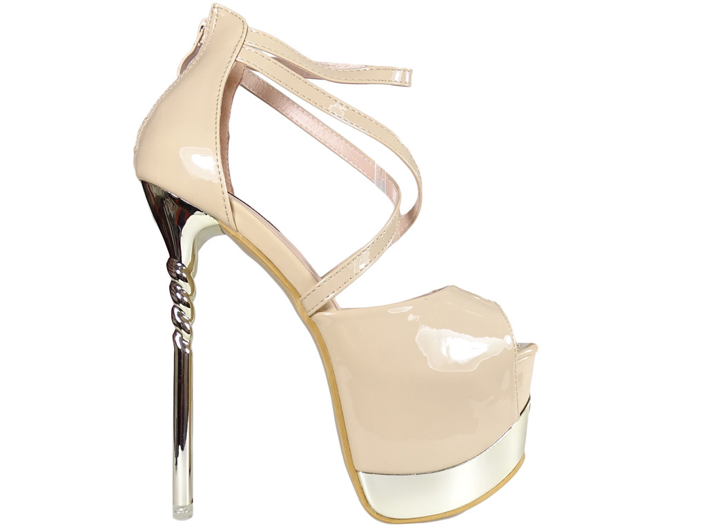 Beżowe szpilki na platformie buty erotyczne high heels - 1