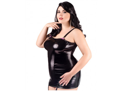 Black fitted erotic dress like leather large size - 1