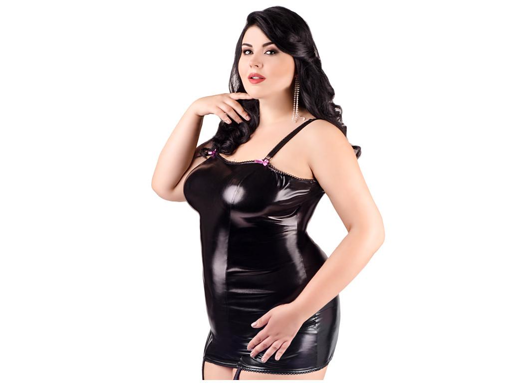 Schwarzes tailliertes erotisches Kleid wie Leder Großformat - 1