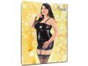 Schwarzes tailliertes erotisches Kleid wie Leder Großformat - 5