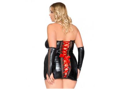Erotisches Set Handschuhkleid mit Wetlook-Kragen - 2