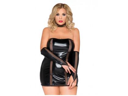 Erotisches Set Handschuhkleid mit Wetlook-Kragen - 1