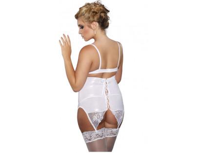 White tall garter belt wet look tied up - 2
