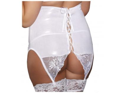White tall garter belt wet look tied up - 1