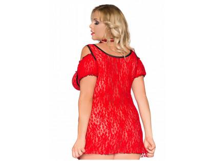 Plusz méretű vörös csipke erotikus ruha - 2