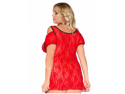 Red lace erotic dress large size - 2