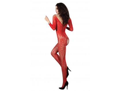 Női vörös erotikus bodystocking fehérnemű - 2