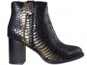 Black-golden scaly women's boots on a pole - 1