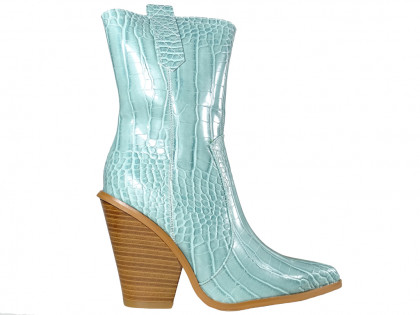 Blue female cowgirls eco leather boots - 1