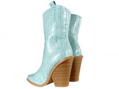 Blue female cowgirls eco leather boots - 2