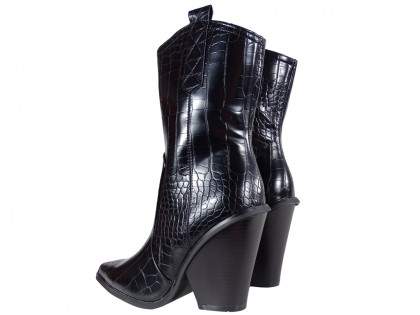 Black women's boots cowgirls eco leather - 2