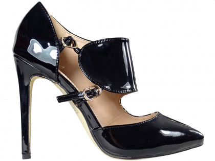Black ladies' pins lacquered boots with belt - 1