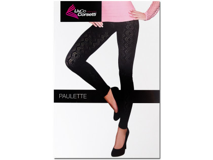 Black patterned leggings women's gaiters - 1