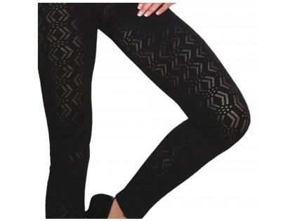 Black patterned leggings women's gaiters - 2
