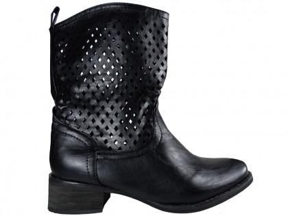 Black ladies' openwork boots - 1