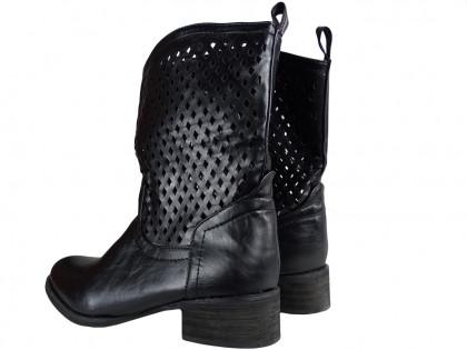 Black ladies' openwork boots - 2