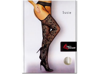 Black patterned stockings with openwork stripes - 1