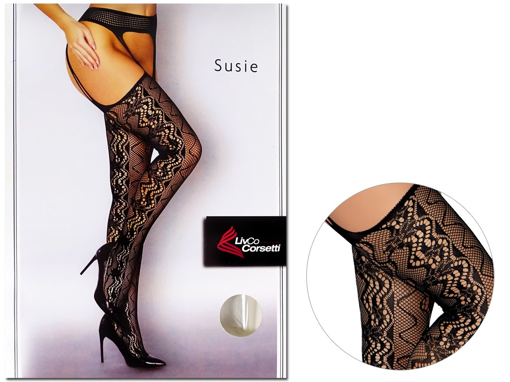 Black patterned stockings with openwork stripes - 3