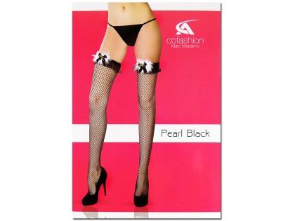 Black cabaret ladies' stockings with lace - 1
