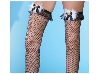 Női fekete necc harisnya csipkével - 2