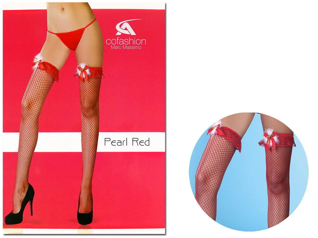 Red cabaret stockings small meshes - 3