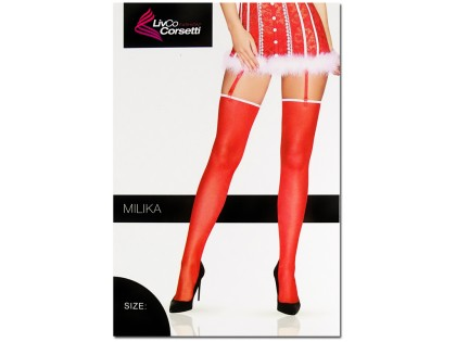 Smooth red striped stockings - 1
