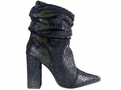 Black ombre warmed women's heeled boots - 1