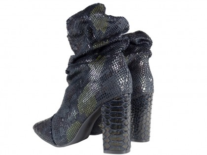Black ombre warmed women's heeled boots - 2
