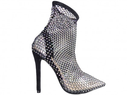 Black transparent boots with zirconia glamour - 1