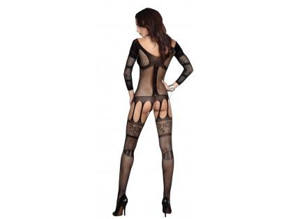 Erotikus fehérnemű, fekete, rugalmas bodystock - 2