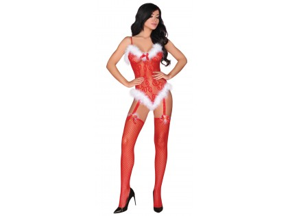 Canned red erotic Christmas bodystocking - 1
