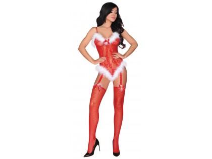 Piros erotikus karácsonyi bodystock ón - 1