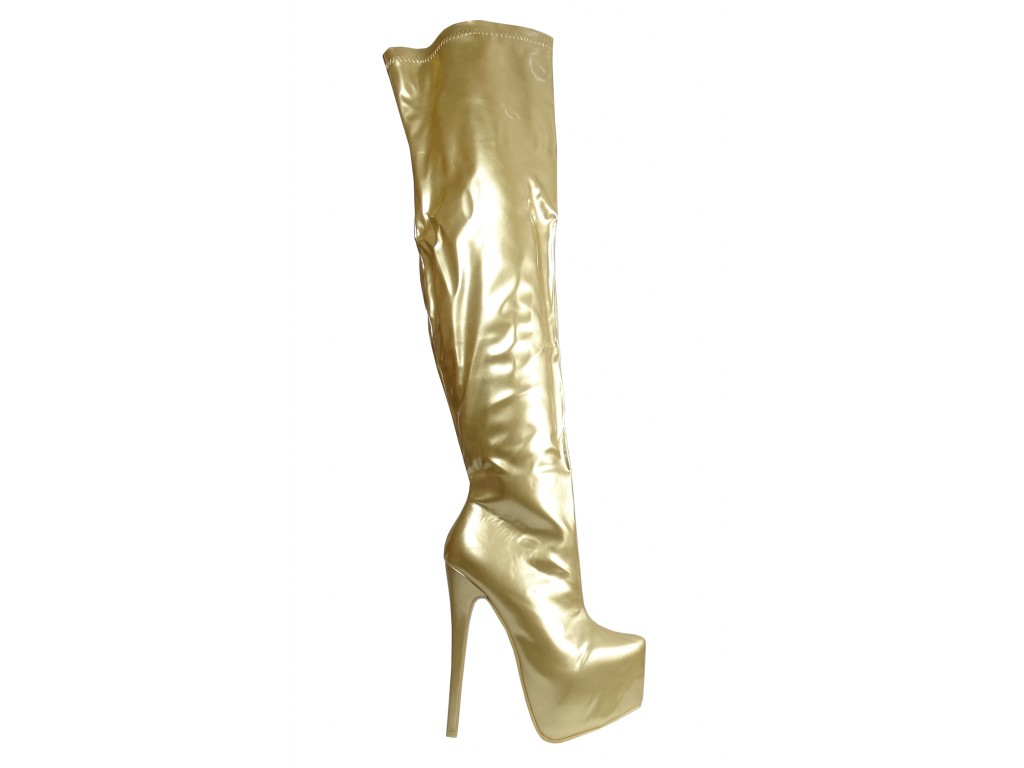Golden lacquered long boots behind the knee on the platform - 1