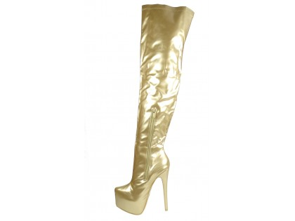Golden lacquered long boots behind the knee on the platform - 2