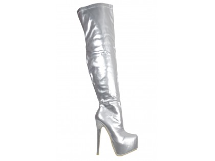 Silver lacquered long boots behind the knee on the platform - 1