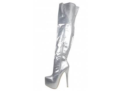 Silver lacquered long boots behind the knee on the platform - 2