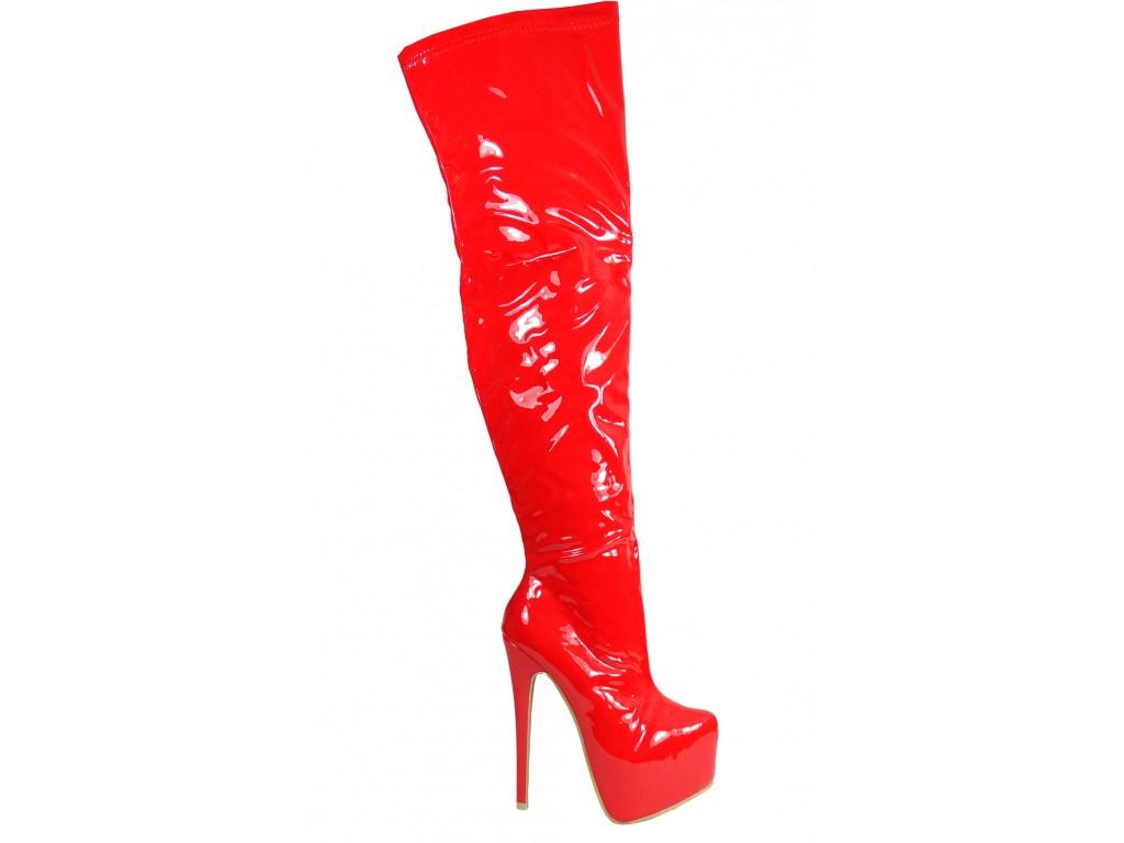 Czerwone lakierowane długie kozaki za kolano - 1