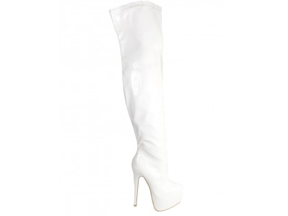 White lacquered long boots behind the knee - 1