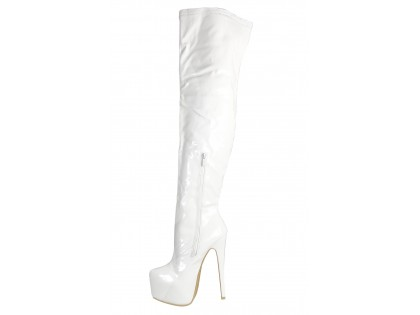 White lacquered long boots behind the knee - 2