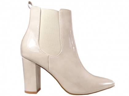 Fleshy lacquered women's heeled boots - 1
